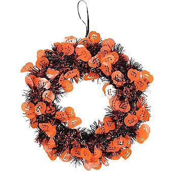24 cm Tinsel Halloween Wreath Halloween Decoration Orange - Pumpkins