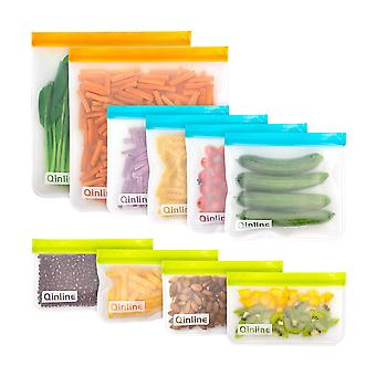 10pcs 500/1000ml Reusable Silicone Food storage Bags 4Blue 4Green 2Red