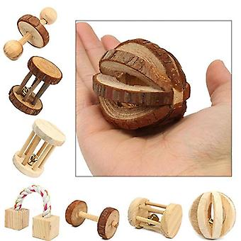 Cute Natural Wooden Rabbits Toys Pine Dumbbells Bicycle Bell Roller Chew Toys For Guinea Pigs Rat Small Pet Molars Supplies