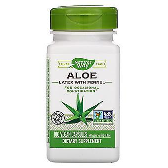 Nature's Way, Aloe Latex med fänkål, 140 mg, 100 veganska kapslar