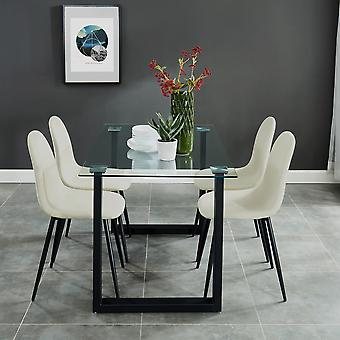 Dahlia/James 5Pc Dining Set - Black Table/Grey Chair