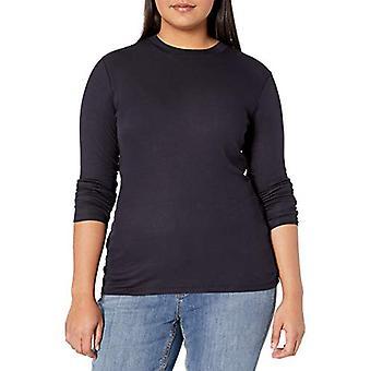 Brand - Daily Ritual Women's Plus Size Fluid Knit Long-Sleeve Crewneck Shirt, 1X, Navy