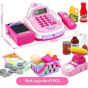 Kids Plastic Cash Register Cashier Pretend & Play Children Early Educational Toy With Shopping Basket Girls Christmas Gifts