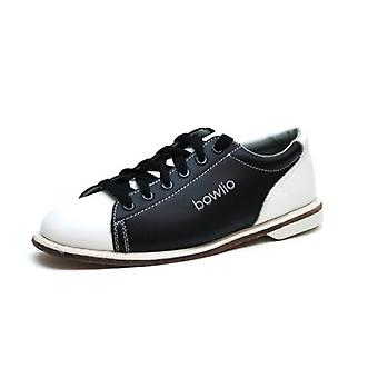Bowlio Classic leather bowling shoes with leather sole in black white