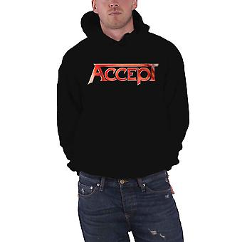 Acceptez Hoodie Flying V Band Logo Back Print new Official Mens Black Pullover