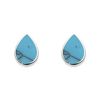 Dew Silver Pear Shape Synthetic Turquoise Stud Earrings 3061TQ024