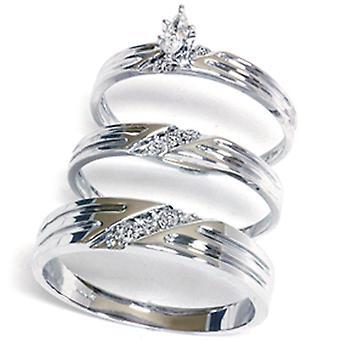 مطابقة الماس الرجال الخطوبة الرجال خاتم الزفاف الزفاف مجموعة الثلاثي 14K الذهب