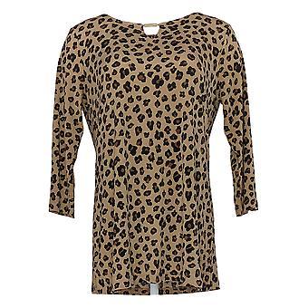 IMAN Global Chic Women's Top Resort 3/4-Sleeve Keyhole Tunic Brown 685-793
