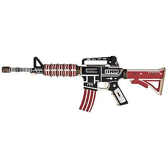 Develop kids intelligence Wooden 66 piece 3D Puzzle - M4 assault rifle