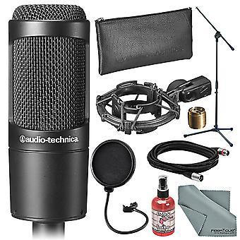 Audio-technica at2035 cardioid kondensatormikrofon och tillbehör bunt med bommen stå + sanitizer + kabel + pop filter + fibertique trasa