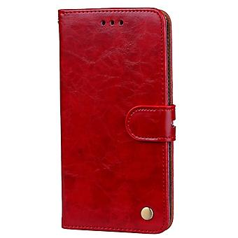 For Huawei P10 Lite Business Style Oil Wax Texture Horizontal Flip Leather Case with Holder & Card Slots & Wallet (Red)