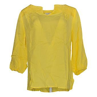 Isaac Mizrahi Live! Damen's Top gesteppt 3/4 Ärmel Sunburst gelb A343168