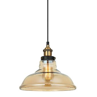 Industrial e Retro Hanging Pendente Preto, Ouro 1 Luz com Sombra Âmbar, E27 Dimmable