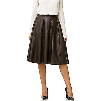 Dame læder nederdel plisseret nederdel MIDI læder optik blusset Maxi VOLANT lang