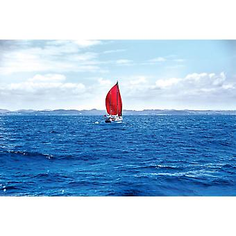 Wallpaper Mural Red Sail Boat at the Har