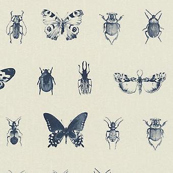 Rasch Cream Bugs Themed Wallpaper Textured Vinyl Beetles Butterfly Wall Covering