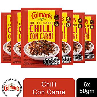 6 Pack Colman's Full of Flavour Recipe Mix Chilli Carne,50g