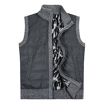 YANGFAN Mens Padded Zipper Waistcoat Vest  Warmer Splicing Jacket Outwear