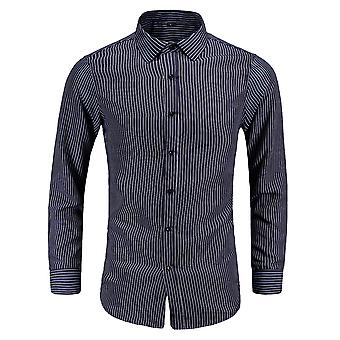YANGFAN Men's Pointed Collar Vertical Striped Long Sleeve Shirt