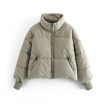 Women Solid Khaki Thick Winter Warm Elegant Coat Jacket