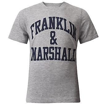 Franklin and Marshall Logo Short Sleeve Vintage Grey Boys T-Shirt FMS0097 G59