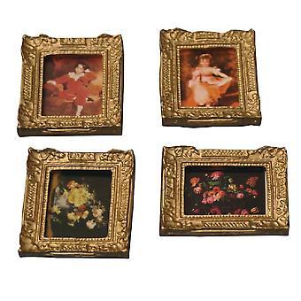 Dolls House 4 kuvia maalauksia antiikki gilt kulta kehykset miniatyyri lisävaruste