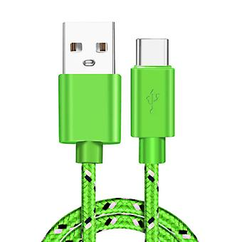 IRONGEER USB-C Charging Cable 2 Meter Braided Nylon - Tangle Resistant Charger Data Cable Green