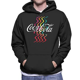 Coca Cola Rainbow Waves Logo Men's Hooded Sweatshirt
