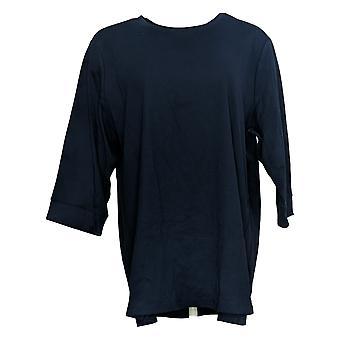 Denim & Co. Frauen's Petite Top Essentials 3/4 Ärmel Tunika blau A388539