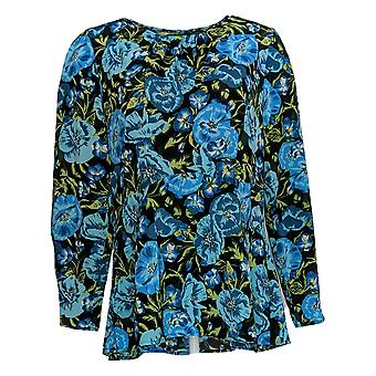 Du Jour Women's Top Floral Printed Woven Top w/Seaming Blue A345231