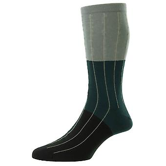 Pantherella Pyrus Color Block Pinstripe Fil D'Ecosse Socks - Sea Green