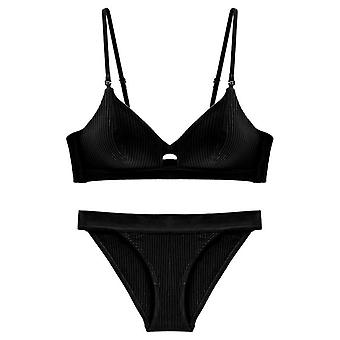 High Quality Cotton Underwear Set Fashion Striped Bra Noble Lingerie Push Up