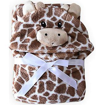 Bear Shaped Baby Hooded Bathrobe Soft Infant, Newborn Giraffe Blanket Pattern