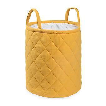 Mustard Quilted Storage Bag With Handle Tetra Storage Bin Closet Toy