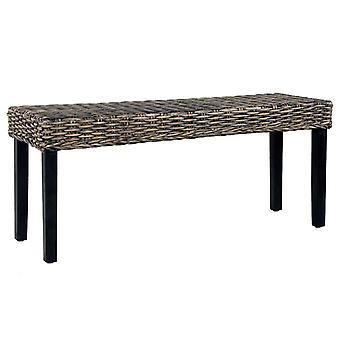 Bench 110 Cm Black Natural Kubu Rattan And Solid Mango Wood