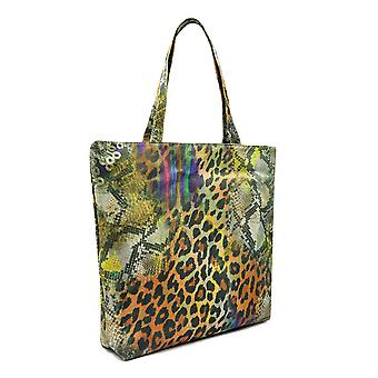 Leopard Print Shopping Bag Beach Canvas Grocery Tote Handbag