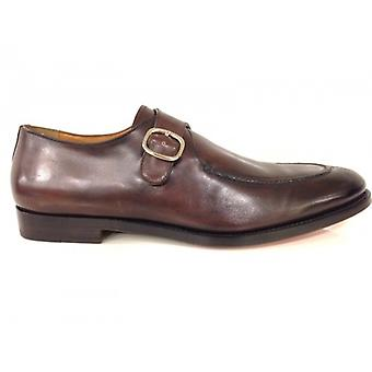 Men's Santoni Moccasic Shoes With Handmade Moro Head Leather Buckle 27
