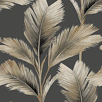 Kailani Leaf Wallpaper Charcoal / Natural Belgravia 59116