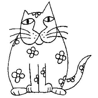 Sello montado en madera de gato de flores
