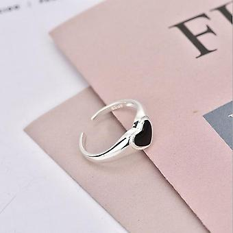 Silver Colour Hollowed-out Heart Shape Open Ring