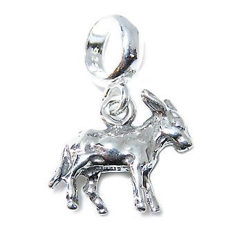 Eselperle Sterling Silber Charm .925 X 1 Maultiere & Esel Perlen Charms - 15362