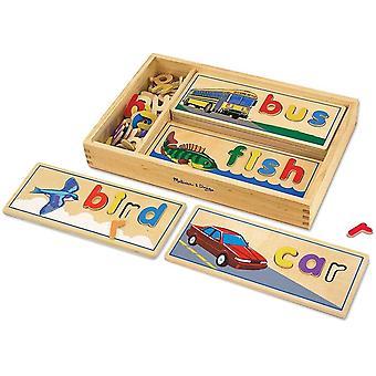 FengChun Melissa Doug 12940 Spielbretter mit Symbolen und Buchstaben aus Holz zum Erkennen und