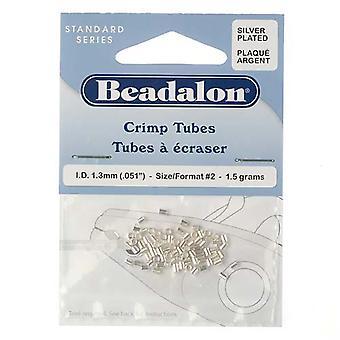 Beadalon Crimp Pärlor, Rör 2x1.8mm, 75 Stycken, Silver pläterade