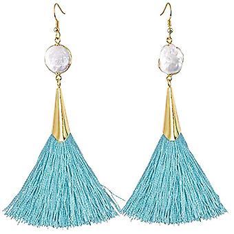 KYEYGWO - Örhängen i hänge för kvinnor, boh mien-stil, med tofs, vintagestil, med vitt skal och guldpläterat, färg: Ref. 0715444118319