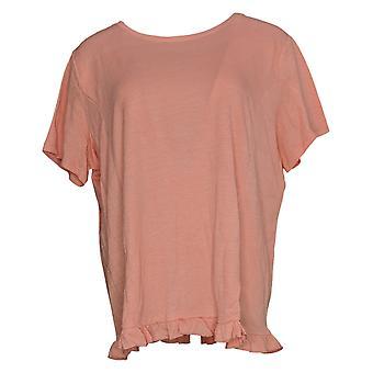 Hvem som helst kvinners topp crinkle strikket t-skjorte med ruffle hem rosa a353784