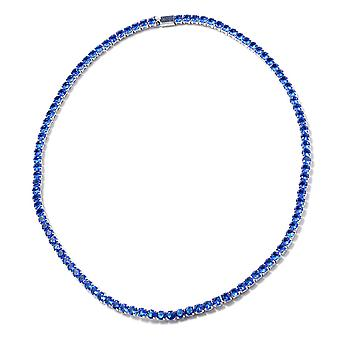 Simulated Blue Sapphire Tennis Necklace 17 in Silver Tone Christmas Gift