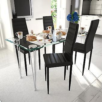 vidaXL sillas de comedor 4 piezas de cuero negro