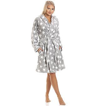 Camille Grey Supersoft Velours Fleece Witte Ster Print Hooded Badjas