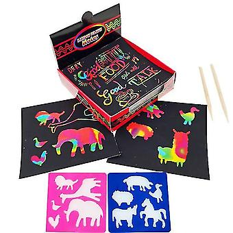 قوس قزح خدش قبالة الملاحظات الفنية البسيطة، مع 100 ورقة قوس قزح 2 قلم خشبي