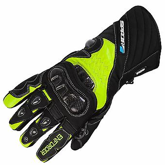 Spada Enforcer Leather Motorcycle Gloves Black Racing Armoured Thermal Hi-Vis